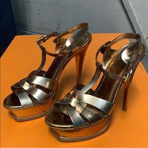 Yves Saint Laurent Shoes - YSL Gold Tribute Platform Sandals